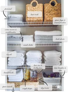 Organized Bathroom Linen Closet Anyone Can Have - Kelley Nan- Elfa door system with medicine storage solution