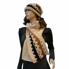 France Moncler Fashion Beige Brown Black Scarf & Cap Outlet
