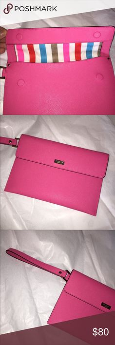 Kate Spade Molly Mini Envelope Clutch Kate Spade Molly Mini Envelope Clutch! Pink, magnetic closure, perfect size & easy to carry with wrist strap! Carried twice. Like new! kate spade Bags Clutches & Wristlets