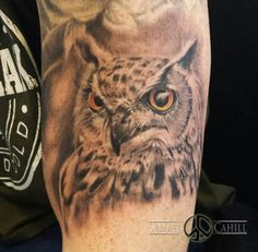 Loved doing this owl Tattoo. Tattoo by Samael Cahill