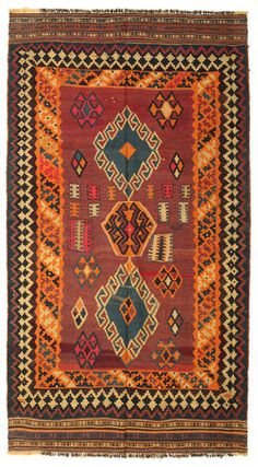 A really nice handwoven kilim Fars carpet from Persia/Iran. An unusual tip is to hang them on the wall as a decoration - try for yourself!