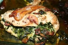 Spinach Stuffed Chicken With Bacon
