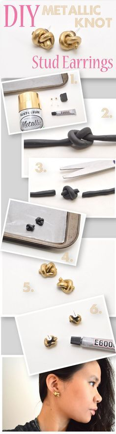 Quirky, interesting pieces that stand out from the norm are some of the best conversation starters. These metallic knot stud earrings definitely fall into that category! Inspired by a pair of metal Kate Spade earrings, this DIY project uses oven-bake clay and metallic spray paint. These earrings are a great idea for anyone who loves nautical style or simple, statement-making accessories. How to tutorial here: www.ehow.com/...
