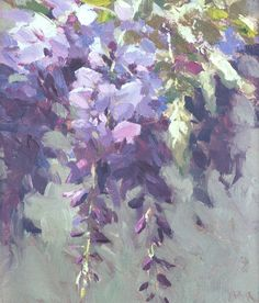 """American Legacy Fine Arts presents """"Wisteria from the Artist's Garden"""" a painting by Jeremy Lipking. Art Floral, Watercolor Flowers, Watercolor Art, Wisteria, Painting Inspiration, Painting & Drawing, Garden Painting, Flower Art, Art Gallery"""