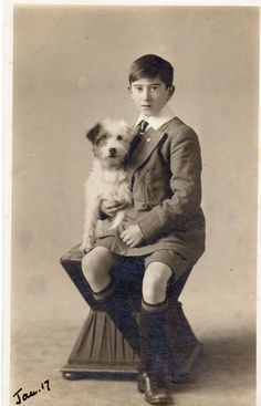 VINTAGE POSTCARD.YOUNG BOY PET DOG TERRIER 1917 EMBERSON WIMBLEDON RP
