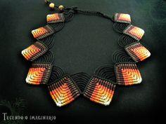 Collana in Macramè realizzata con filo incerato brasiliano : Collane di tecendo-o-imaginario