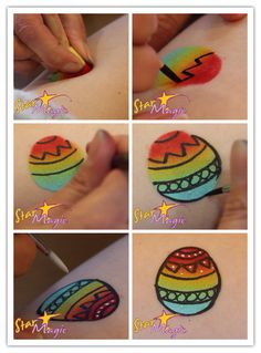Stap-voor-stap voorbeeld paasei schminken voor de Pasen.