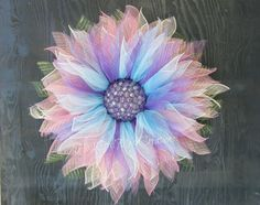Blue Flower Wreath-Blue Deco Mesh Flower Wreath-Blue Ombre Flower Wreath-Spring Wreath-Pink Ombre Flower Wreath by HootOwlMeshCreations on Etsy
