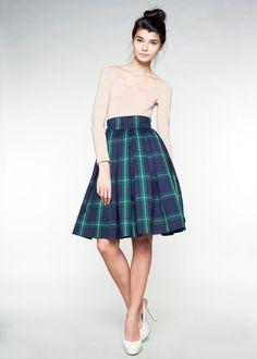 Navy blue and green tartan wool skirt.  Cute!