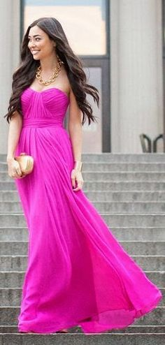 Hot pink maxi dress. Dress it up or down