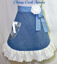 Items similar to Half Apron, DENIM & LACE, Light Blue Denim with Embellished Lace, Pretty Party Hostess, Unique Kitchen Gift on Etsy Denim And Lace, Blue Denim, Jean Apron, Apron Designs, Cute Aprons, Denim Ideas, Denim Crafts, Sewing Aprons, Half Apron