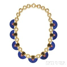 Art Deco 18kt Gold, Lapis, and Pink Sapphire Necklace, France, composed of beveled half disks of lapis surmounted by bezel-set pink sapphire cabochons, …