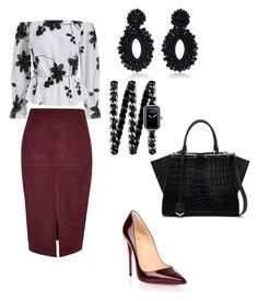 """work2"" by omahiba on Polyvore featuring River Island, Christian Louboutin, Chanel, Bibi Marini and Fendi"
