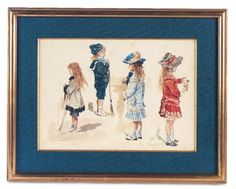 A Cherished Collection - Madame Andrée Petyt: 262 1929 Watercolor of Children in Fashionable Clothing