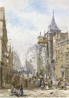 The Canongate Tolbooth looking up the Royal Mile towards the castle from Holyrood Palace by Louise Rayner 1832-1924