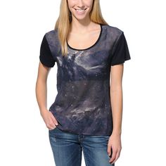 Chic fashion with a celestial twist, the Hadley Celestial Black chiffon top from Empyre Girl is a must have.  This loose fit Empyre top for girls is made with a  sheer galaxy print chiffon front with Solid Black sleeves and Back that will surely add some