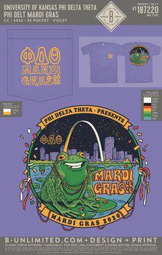 Phi Delta Theta Mardi Gras Shirt | Fraternity Event | Greek Event #phideltatheta #phidelt #mardigras Phi Delta Theta, Bid Day Themes, University Of Kansas, Greek Clothing, Clothing Company, Mardi Gras, Custom Clothes, Screen Printing, Holidays