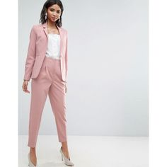 ASOS Mix & Match Highwaist Cigarette Pant (360 SEK) ❤ liked on Polyvore featuring pants, pink, high-waisted pants, asos pants, high rise pants, cigarette pants and slim fit pants