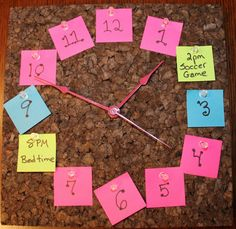Great idea for learning the time at home - you can replace post it notes with events going on.  Such as bath time, homework, tea time :)