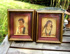 Set of two vintage frames with girl and boy by jensdreamvintage