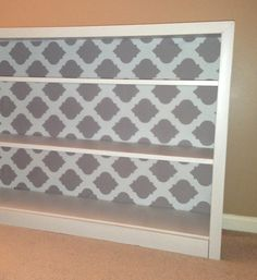 Bookshelf Makeover using Fabric. Chic look for the playroom for Kinley's Books