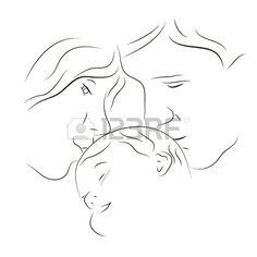 Silhouette disegnati a mano dei genitori e un bambino Archivio Fotografico