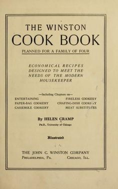 The Winston cook book, planned for a family of ...