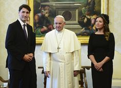 Canadian Prime Minister Justin Trudeau was accompanied by wife SophieGregoire-Trudeau to the Vatican on Monday where he is thought to have asked for an apology