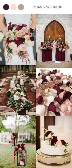 rustic burgundy and blush wedding color ideas