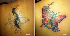 Amazing and Cool Cover Up Butterfly Tattoo!!