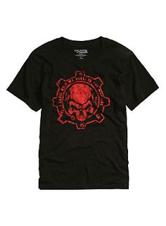 """<p>Black T-shirt from Xbox One's third-person shooter video game <i>Gears of War 4</i> with a Crimson Omen cog design on front that reads """"I Shall Hold My Place In The Machine."""" <i>Gears of War</i> logo tag print on back.</p>  <ul> <li>100% cotton</li> <li>Wash cold; dry low</li> <li>Imported</li> <li>Listed in men's sizes</li> </ul>"""