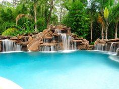 Slide and jumping rocks! Custom Swimming Pool Photos, Platinum Pool Photos, Pool Pics | Platinum Pools