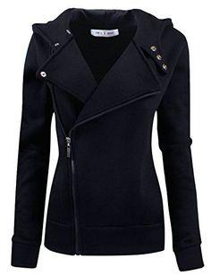 Tom's Ware Women Slim fit Zip-up Hoodie Jacket TWHD1003-BLACK-M