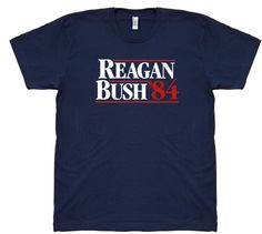The original classic 1984 campaign shirt from Ronald Reagan's historic presidential bid against Walter Mondale. On November 6, 1984 Ronald Reagan and George H. W. Bush carried 49 of 50 states receiving 525 electoral votes to Mondale's 13.   #America