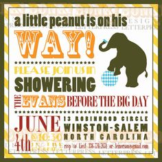 Baby Shower Invitation - Little Peanut Circus