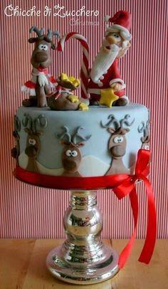 Christmas Cake Designs, Christmas Cake Decorations, Christmas Sweets, Holiday Cakes, Christmas Cooking, Noel Christmas, Christmas Cakes, Xmas Cakes, Reindeer Christmas