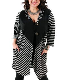 Another great find on #zulily! Gray & Black Stripe Hooded Duster - Plus by Aster #zulilyfinds