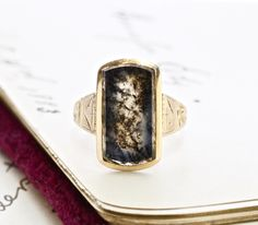 Antique Dendritic Agate Ring, Victorian 14k Large Rectangular Moss Tree, Bohemian Statement, Rustic Anniversary Gift, Love Token by TheEdenCollective on Etsy https://www.etsy.com/listing/235506722/antique-dendritic-agate-ring-victorian