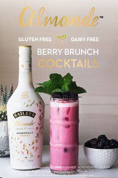 Before hosting brunch, grab your bottle of Baileys Almande - the NEW dairy free, gluten free and vegan almondmilk liqueur. Skip the mimosas and bloody marys and impress your friends with beautiful light-tasting brunch cocktails. Simply mix 2 oz. Baileys Almande, 0.75 oz. light agave nectar, 0.75 oz. lemon juice, and 5 muddled blackberries to make this refreshing Blackberry Spritz.