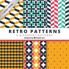 Retro geometric patterns pack Premium Vector