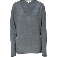 FAITH CONNEXION Grey Merino Wool V-Neck Pullover ($270) ❤ liked on Polyvore