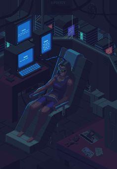 "Paradise - Pixel art, cyberpunk, isometric, night, vr - [""An 8 frame animation. 8 Bits, Cyberpunk City, Cyberpunk 2077, Vaporwave, Pixel Art Gif, Pix Art, Pixel Animation, Retro Waves, Retro Art"