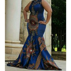african/ethnic/prom Wedding New Ankara Women Gown ($200) ❤ liked on Polyvore featuring dresses, gowns, blue, women's clothing, mermaid prom dresses, prom gowns, mermaid gown, long lace dress and blue prom dresses
