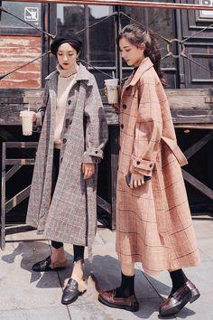 K-pop Fashion Knee Length Plaid Woolen Coat Branded Belts, Animal Faces, Comfy Shoes, Bad Hair, Korean Beauty, Pop Fashion, Travel Size Products, Timeless Design, Wool Blend