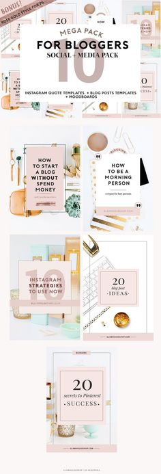 4 Bloggers  Social Media Pack  Instagram Template by GlamHouseShop