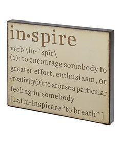 Look what I found on #zulily! 'Inspire' Definition Sign #zulilyfinds