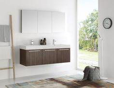 Fresca Vista Grey Oak Wall-hung Double-sink Modern Bathroom Vanity with Medicine Cabinet (Vista 60 Gray Oak Wall Hung Double Sink Vanity), Size Double Vanities Double Sink Bathroom, Single Bathroom Vanity, Vanity Sink, Kitchen And Bath, Modern Bathroom, Small Bathroom, Bathrooms, Bathroom Ideas, Master Bathroom