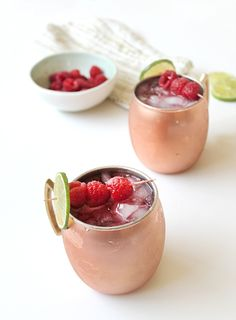 Raspberry Moscow Mules Cocktail Drink Recipe with Vodka