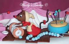 cinderella's mice at work making her dress