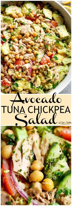 Avocado Chickpea Tuna Salad with a lemon dressing is perfect for lunch or dinner. - Avocado Chickpea Tuna Salad with a lemon dressing is perfect for lunch or dinner! Quick and easy fo - Healthy Diet Recipes, Healthy Meal Prep, Healthy Eating, Healthy Fats, Healthy Filling Meals, Eating Vegan, Meal Recipes, Healthy Soup, Muffin Recipes
